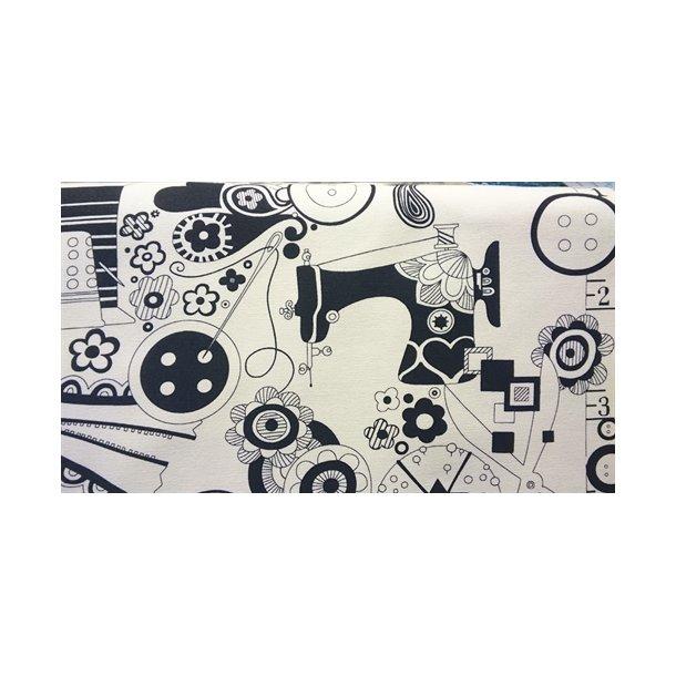 Hvid kanvas med sort print